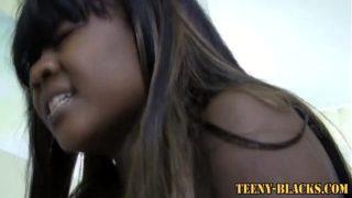 Horny black teen rides