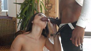 Hot latina Jade Presley kneels in front of his big fat black monster cock