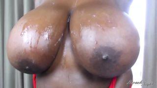 big busty ebony tits get cum all over them