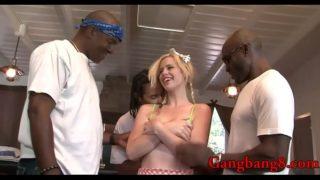 Horny bitch railed by pervert black men