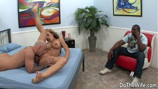 Hot wife gets fucked by a white guy in front of her black husband