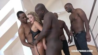 Bitch Sofi Goldfinger deals with 4 Black Monster Cocks with a Smile!