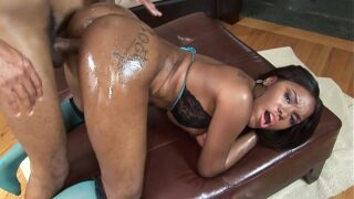 Lusty ebony with amazing ass sits on a black pole and gets cream pie finale