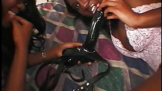Gorgeous black girl and ebony friend in fishnets love big interracial cock