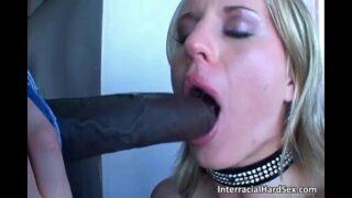 Horny blonde slut sucks huge black cock